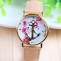 preiswerte Damenuhren-Damen Quartz Armbanduhr PU Band Blume / Modisch Weiß / Beige