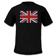 LED-T-shirts Lydaktiverede LED-lys Tekstil Nationalflag 2 AAA Batterier