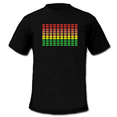 billiga Originella LED-lampor-LED-t-shirts Ljudaktiverade LED lampor Textil Nationalflagga 2 AAA Batterier