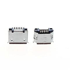 abordables Clavijas y Enchufes Eléctricos-micro usb conector de enchufe hembra de 5 pines - plata (paquete de 5 piezas)