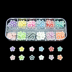 60pcs 12 renk küçük çiçek reçine tırnak sanat dekorasyon