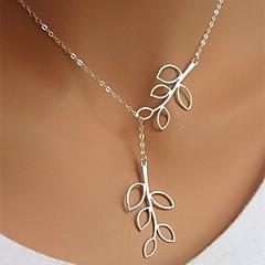 preiswerte Halsketten-Damen Anhängerketten  -  versilbert Blattform Simple Style, Modisch, Normallänge Silber Modische Halsketten Für Geburtstag, Geschäft, Geschenk