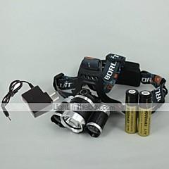 preiswerte Stirnlampen-4 Stirnlampen Schweinwerfer LED 2400 lm 4.0 Modus LED inklusive Batterien und Ladegerät einstellbarer Fokus Wiederaufladbar Camping /