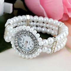 お買い得  レディース腕時計-女性用 ブレスレットウォッチ ダミー ダイアモンド 腕時計 クォーツ 模造ダイヤモンド Plastic バンド ハンズ 花型 パール ファッション 白 - ホワイト