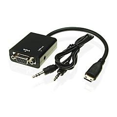 preiswerte Kabel & Adapter-Mini-HDMI-auf-VGA-Adapter-Kabel mit 3,5-mm-Audiokabel