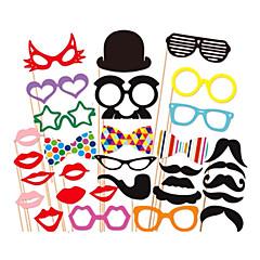31 db kártya papír Photo Booth kellékek party fun javára (szemüveg& kalap& bajusz& kalap)