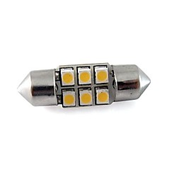 cheap LED Car Bulbs-Festoon 31MM 6x3528 SMD 1W 40LM Led Car Reading Light White Warm White DC 12V (2 pieces)
