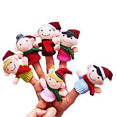 abordables Disfraces de Santa-Marionetas de dedo Novedades Dibujos Textil Chica Juguet Regalo 6 pcs