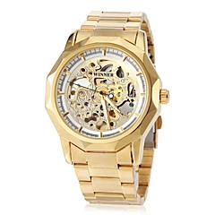preiswerte Tolle Angebote auf Uhren-WINNER Herrn Armbanduhr Mechanische Uhr Automatikaufzug Transparentes Ziffernblatt Edelstahl Band Analog Luxus Schmetterling Gold - Weiß Schwarz