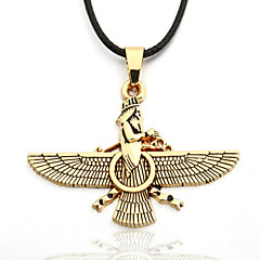 mannen zinklegering gele adelaar zwarte touw ketting zoroastrisme Ahura Mazda