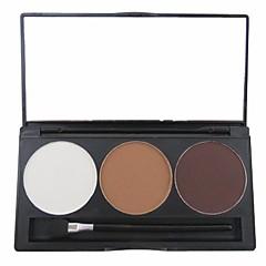 3 kleur 3in1 matte professionele wenkbrauw poeder / oogschaduw / bronzer make-up cosmetische palet met spiegel&applicator set