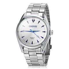 preiswerte Herrenuhren-JUBAOLI Herrn Quartz Armbanduhr Armbanduhren für den Alltag Edelstahl Band Charme Kleideruhr Silber