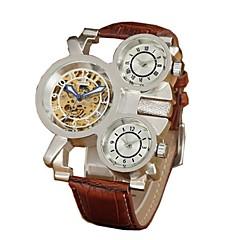 voordelige Mechanische horloges-Heren Skeleton horloge mechanische horloges Automatisch opwindmechanisme Waterbestendig Hol Gegraveerd Drie tijdzones Leer Band Luxueus
