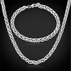 お買い得  ジュエリーセット-男性のためのチェーンネックレスのブレスレットを捻っu7®coolメンズ316Lステンレススチールリンクは、宝石のセットをフェード決して