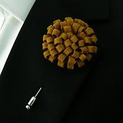 mannen handgemaakte lichtbruine wol combineert revers bloemen corsages