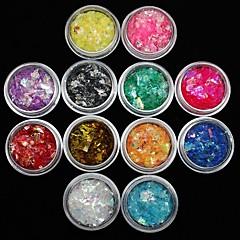 12pcs renkleri kağıt etiket tırnak sanat dekorasyon kabuk