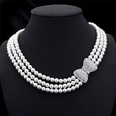 preiswerte Halsketten-Damen Perle Mehrschichtig Glasperlen Halsketten / Ketten / Kragen - Perle, Künstliche Perle, Strass Schleife Elegant, Brautkleidung, Mehrlagig Modische Halsketten Schmuck Für Hochzeit, Party