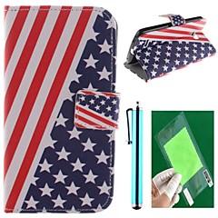 Flaga amerykański projekt pu skóra pełna przypadku ciała z ochraniaczem ekranu, pióra i kandydowania lg L80