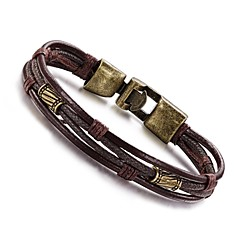 cheap Bracelets-Men's Wrap Bracelet Leather Bracelet - Leather, Titanium Steel Personalized, Vintage, Hip-Hop Bracelet Jewelry Silver / Bronze For Daily Casual Sports