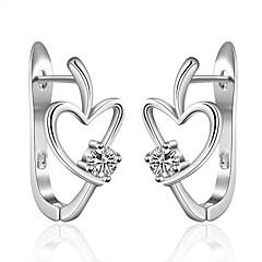 preiswerte Ohrringe-Damen Kubikzirkonia Zirkon Kubikzirkonia versilbert Ohrstecker Kreolen - Liebe Modisch Silber Ohrringe Für Hochzeit Party Alltag