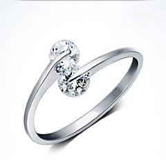 Feminino Maxi anel Estilo simples Ajustável Aberto Personalizado Europeu bijuterias Prata de Lei Imitações de Diamante Jóias Para