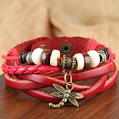 leather Charm BraceletsEuropean And American Vintage Style Hand-Woven String Hanging Dragonfly Leather Bracelet Jewelry