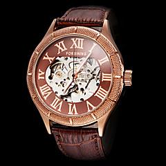 preiswerte Herrenuhren-FORSINING Herrn Mechanische Uhr Automatikaufzug Transparentes Ziffernblatt Leder Band Analog Luxus Schwarz / Braun - Weiß Schwarz Bronze