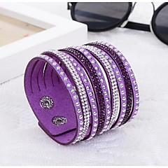 preiswerte Armbänder-Damen Wickelarmbänder Lederarmbänder - Harz, Diamantimitate Einzigartiges Design, Modisch Armbänder Purpur / Blau / Kamel Für Hochzeit Party Alltag