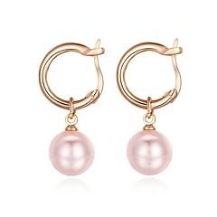 tanie Kolczyki koła-Damskie Kolczyki koła Kryształ Imitacja pereł Pozłacane Różowa perła Biżuteria Na Ślub Impreza Codzienny Casual