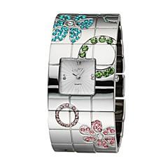 お買い得  レディース腕時計-女性用 ファッションウォッチ ブレスレットウォッチ クォーツ 日本産クォーツ 30 m 合金 バンド ハンズ 花型 シルバー