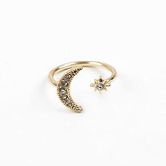 お買い得  指輪-女性用 指輪  -  ラインストーン, イミテーションダイヤモンド, 合金 MOON 調整可 シルバー / ゴールデン 用途 結婚式 / パーティー / 日常
