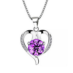 Women's Pendant Necklaces Silver Sterling Silver Gem White Purple Jewelry Wedding Party Daily Casual 1pc