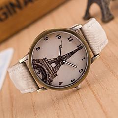 preiswerte Damenuhren-Damen Quartz Armbanduhr Schlussverkauf Leder Band Freizeit Eiffelturm Modisch Schwarz Weiß Blau Rot Braun Grün Rosa Gelb