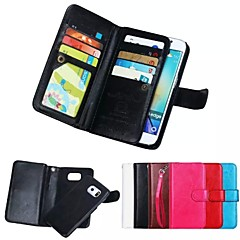 olcso Galaxy S6 Edge tokok-Mert Samsung Galaxy tok tokok Pénztárca Kártyatartó Mágneses Teljes védelem Case Egyszínű Puha Valódi bőr mert SamsungS8 S8 Plus S7 edge