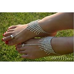 お買い得  ボディージュエリー-クリスタル アンクレット - クリスタル, イミテーションダイヤモンド ユニーク, ファッション シルバー 用途 結婚式 パーティー 日常 女性用