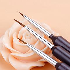 3PCS Nail Brushes Nail Art Painting Lining Drawing Pen Brush Set