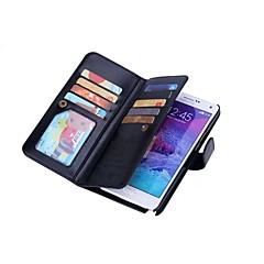Недорогие Чехлы и кейсы для Galaxy Note 5-DE JI Кейс для Назначение SSamsung Galaxy Samsung Galaxy Note Кошелек / Бумажник для карт / Магнитный Чехол Однотонный Твердый Кожа PU для Note 5 / Note 4 / Note 3