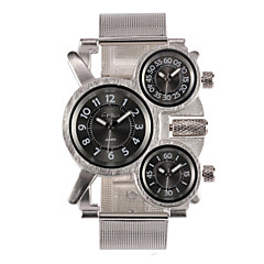 OULM® Men's Military Watch Three Time Zones Silver Steel Strap Cool Watch Unique Watch Fashion Watch