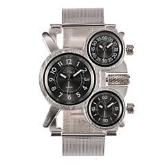 お買い得  大特価腕時計-Oulm 男性用 クォーツ 日本産クォーツ リストウォッチ 軍用腕時計 3タイムゾーン ステンレス バンド チャーム シルバー