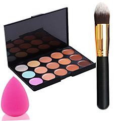 baratos -pro partido 15 cores creme para o rosto contorno corretivo maquiagem paleta pincel de pó + + Power Puff