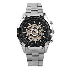 preiswerte Tolle Angebote auf Uhren-WINNER Herrn Armbanduhr Mechanische Uhr Automatikaufzug Silber 30 m Transparentes Ziffernblatt Cool Analog Luxus Retro Freizeit - Weiß Schwarz / Edelstahl