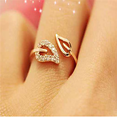 cheap Rings-Women's Open Cuff Ring Adjustable Ring - Cubic Zirconia, Rhinestone, Gold Plated Leaf Simple, Basic, Fashion Adjustable Gold / Silver For Daily Wear Date / Alloy