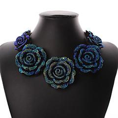 preiswerte Halsketten-Damen Harz Schmuck-Set - Harz Rosen, Blume Erklärung, Retro, Party Einschließen Kragen Blau Für Party Besondere Anlässe Jahrestag / Halsketten