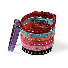 お買い得  犬用首輪/リード/ハーネス-ネコ 犬 カラー ラインストーン PUレザー パープル ローズピンク レッド ブルー ピンク