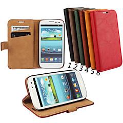 Για Samsung Galaxy Θήκη Θήκη καρτών / Πορτοφόλι / με βάση στήριξης / Ανοιγόμενη tok Πλήρης κάλυψη tok Μονόχρωμη Γνήσιο δέρμα Samsung S3