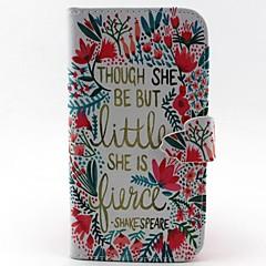 billige Galaxy S4 Mini Etuier-Etui Til Samsung Galaxy Samsung Galaxy etui Kortholder Pung Med stativ Flip Fuldt etui Ord / sætning PU Læder for S6 edge S6 S5 Mini S5