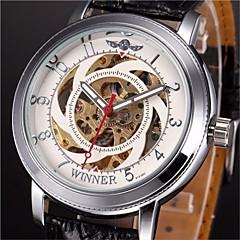 お買い得  大特価腕時計-WINNER 男性用 リストウォッチ / 機械式時計 透かし加工 PU バンド チャーム ブラック / 自動巻き