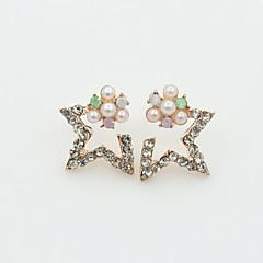 お買い得  イヤリング-スタッドピアス クリスタル ファッション 欧風 真珠 人造真珠 ラインストーン ゴールドメッキ 18K 金 模造ダイヤモンド オーストリアクリスタル ゴールド シルバー ジュエリー のために 2 個