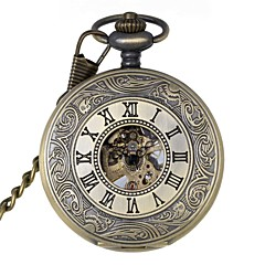 tanie -Męskie Zegarek kieszonkowy zegarek mechaniczny Mechaniczny, nakręcanie ręczne Grawerowane Stop Pasmo Ekskluzywne Bronze