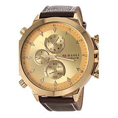 preiswerte Herrenuhren-JUBAOLI Herrn Quartz Armbanduhr Militäruhr Armbanduhren für den Alltag Leder Band Charme Schwarz